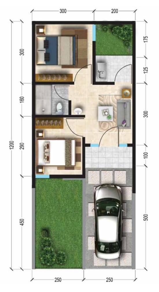 Denah rumah minimalis ukuran 5x12 meter 2 kamar tidur 1