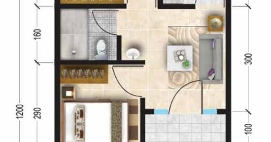 Lingkar Warna Denah Rumah Minimalis Ukuran 5x12 Meter 2 Kamar Tidur 1 Lantai Tampak Depan