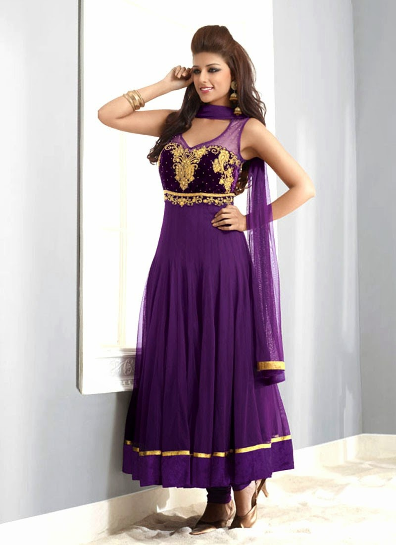 Purple Wedding Dresses And Suits : Bridals and grooms latest fashion anarkali long frock design