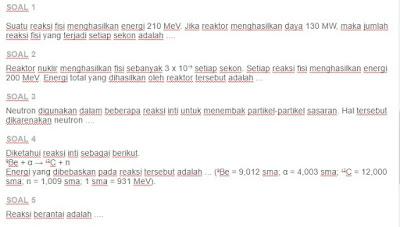 Contoh Soal Reaksi Inti dan Energi Nuklir