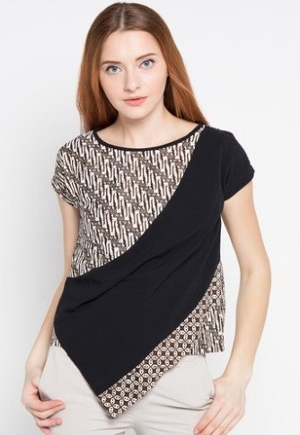 18 Aneka Model Baju Batik Kombinasi Yang Trendy Dan Keren Dengan