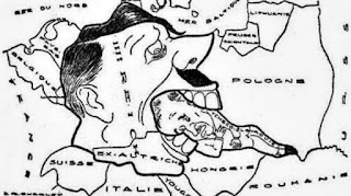 Hitler comiéndose a Checoslovaquia.
