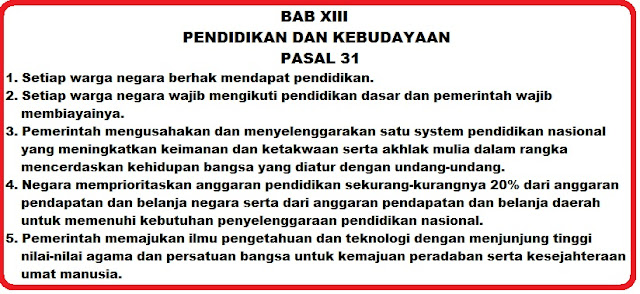 Pasal 31 ayat 1, 2, 3, 4 ,5 UUD 1945