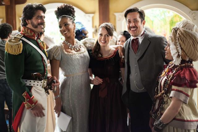 Condessa Catarina  figurino vestido estampado, cena novela Escrava Mãe