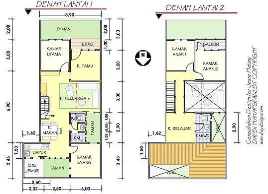 gambar denah rumah tingkat 1