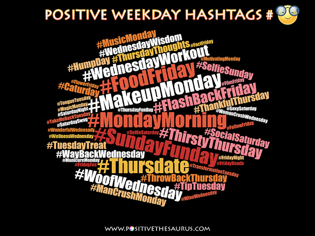 popular weekday hashtags word cloud