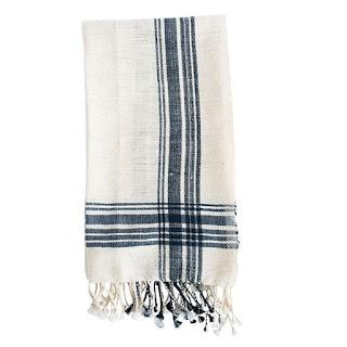 indigo blue stripe linens