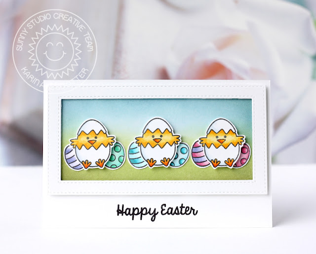 Sunny Studio Stamps: A Good Egg Trio Of Chicks Easter Card by Karin Akesdotter