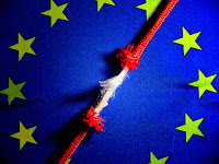 Image of EU flag with fraying cord down the middle