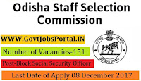 Odisha Staff Selection Commission Recruitment 2017– 151 Block Social Security Officer