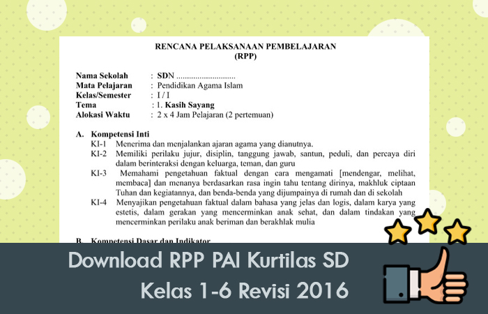 Download RPP PAI Kurtilas SD Kelas 1-6 Revisi 2016
