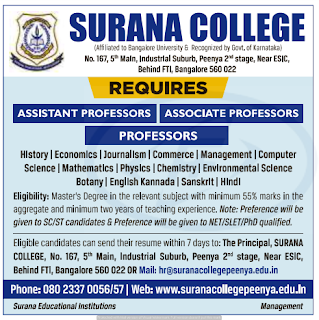 Surana College Professor /Assistant Professor Jobs Recruitment 2019, Bangalore