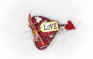 cute red heart shape on snow - Love Photography