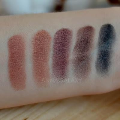 Темные оттенки свотчи палетка теней Makeup Revolution Re-Loaded Basic Mattes