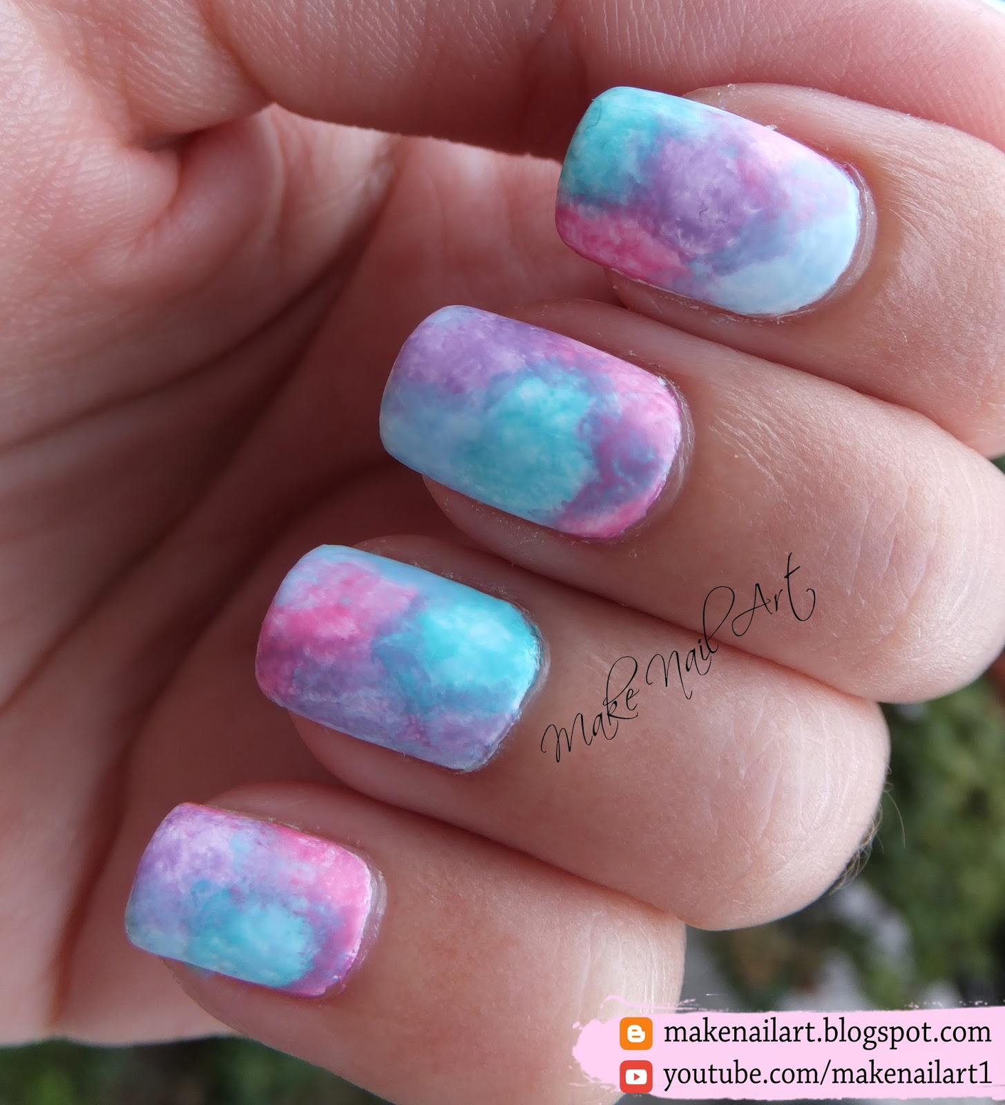 Make nail art easy watercolor pastel nail art design tutorial apply randomly on the nails i used four pastel colours light purple pink blue and green finish with a matte top coat for full tutorial check out the prinsesfo Image collections