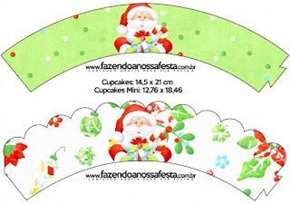 Wrappers para Cupcake de Santa en Fondo Verde.