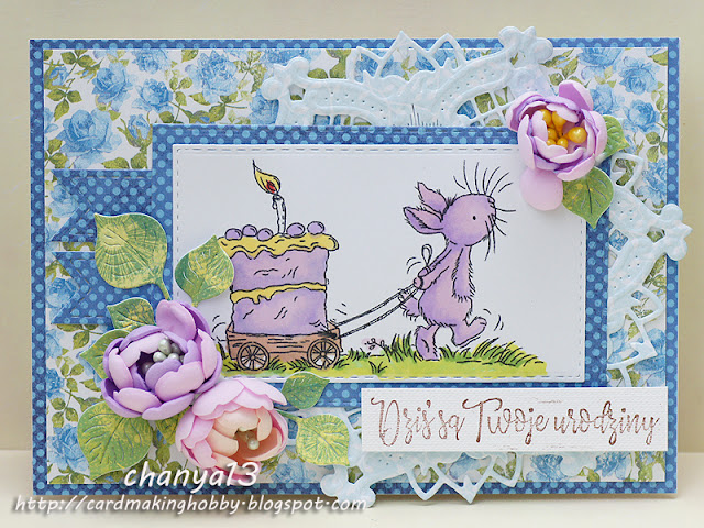 71.Urodzinowa kartka z królikiem