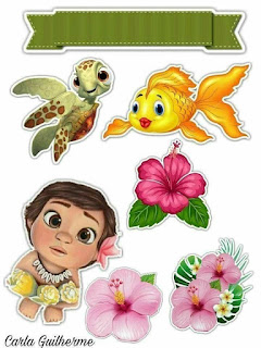 Baby Moana: Free Printable Cake Toppers.