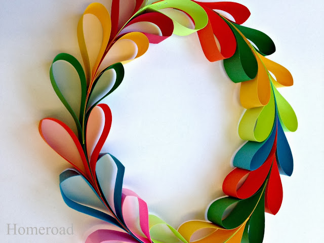 colored paper heart wreath