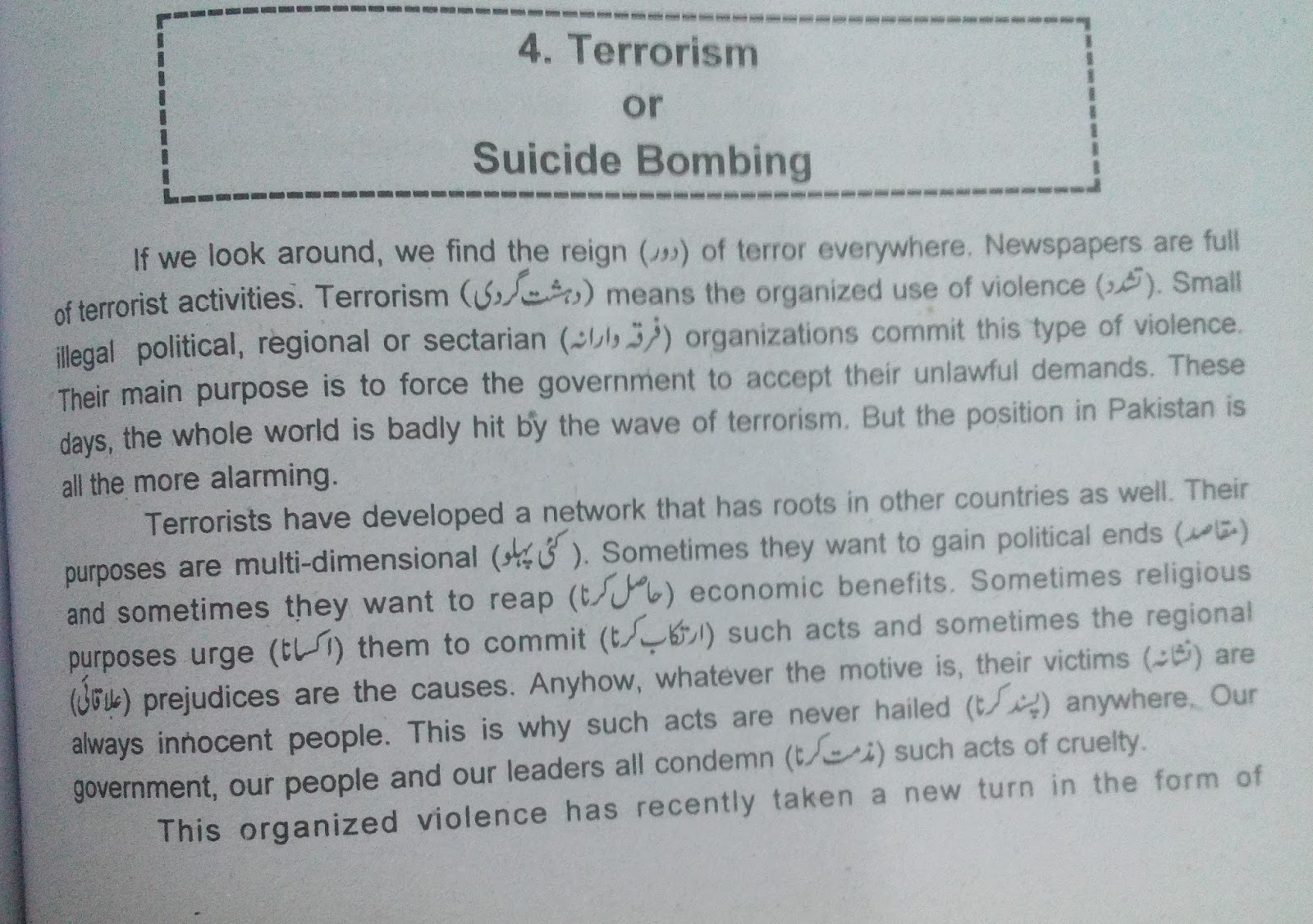 Terrorism in pakistan essay