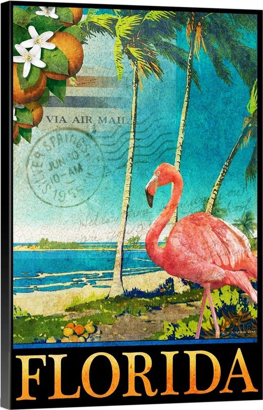 Florida Destination Travel Print Flamingo Stamp Design