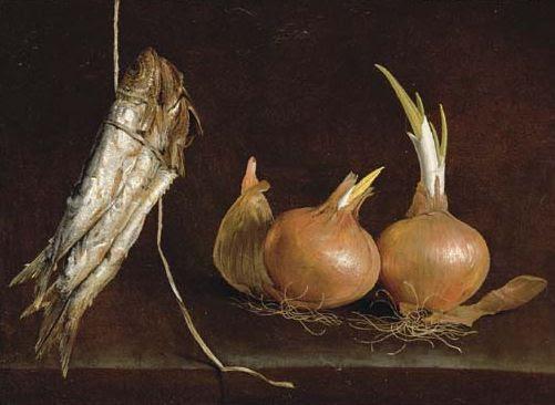 Giovan Battista Recco, Pesci appesi ad uno spago e cipolle Collezione privata