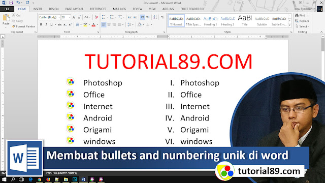 cara membuat costume bullets and numbering unik di word