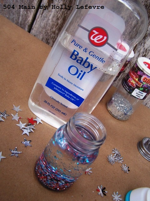baby oil or glycerin work well for this craft