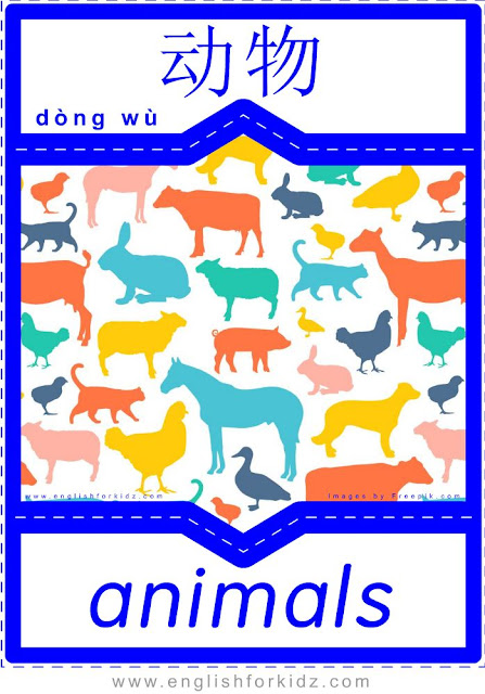 Animals English-Chinese flashcards for ESL students