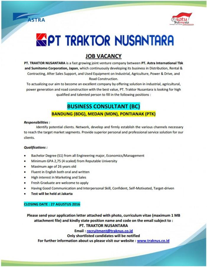 Lowongan Kerja PT. Traktor Nusantara Agustus 2016