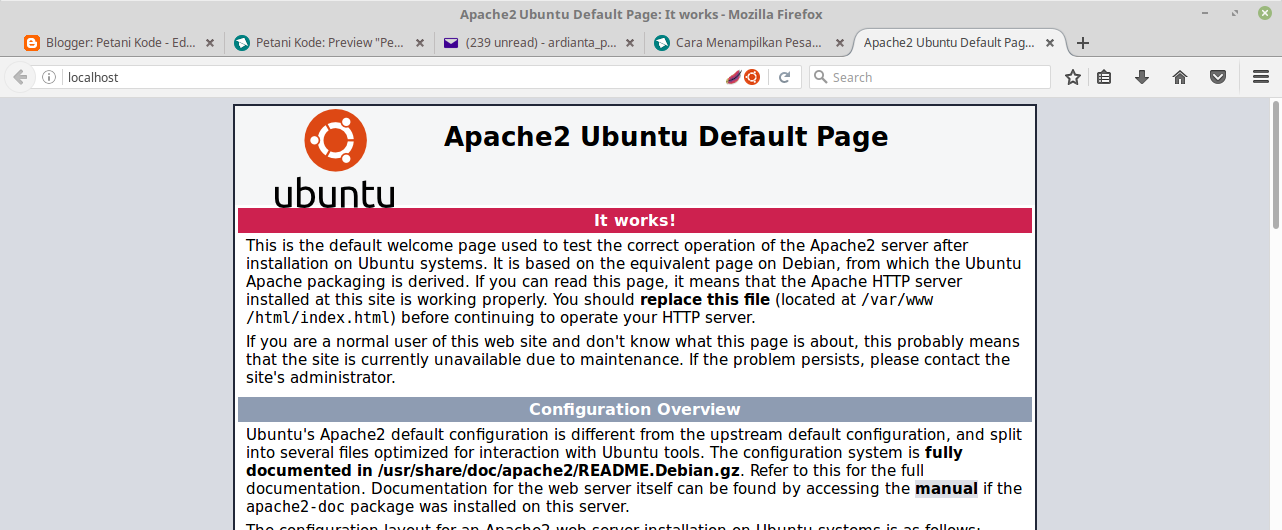 Test the Apache server via the browser