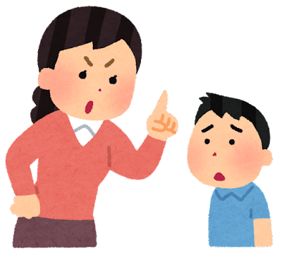 真剣に子供を叱るお母さんのイラスト(躾)