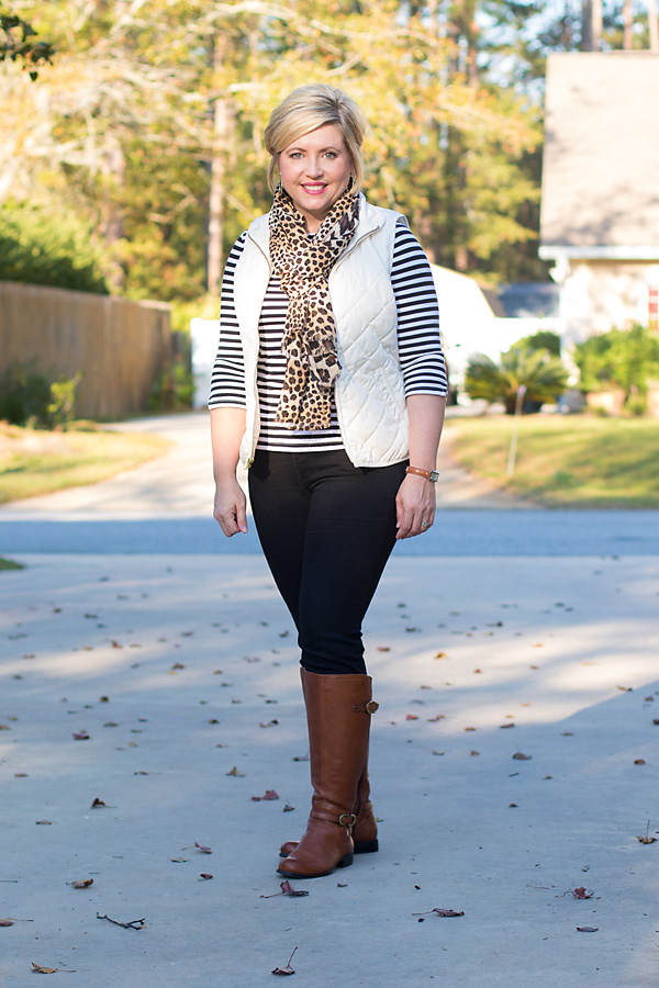 mixing black and brown, puffer vest outfit, fall outfit
