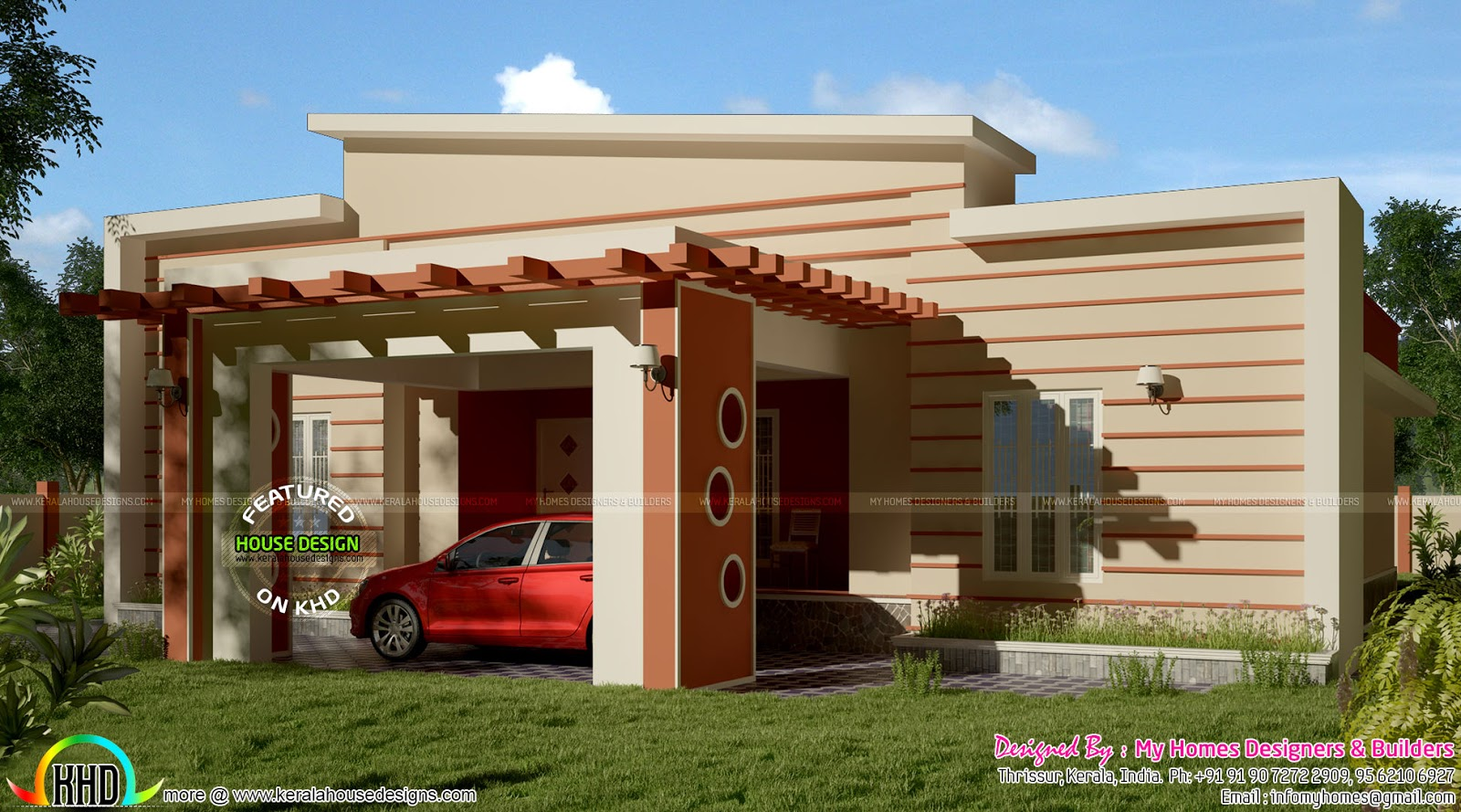 Modern Single Floor Front Elevation : Square feet modern single floor house kerala home