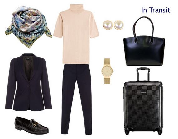 navy and blush travel outfit