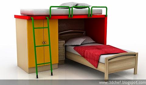 free 3d model kids bed