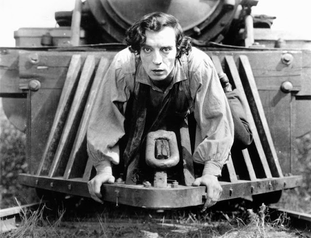 Buster Keaton on locomotive cowcatcher in The General (1926)