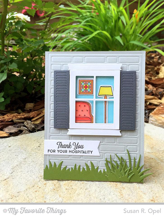 Handmade card from Susan R. Opel featuring Lisa Johnson Designs Make Yourself at Home stamp set and Die-namics, Classic Windows and Brick Wall Cover-Up Die-namics #mftstamps