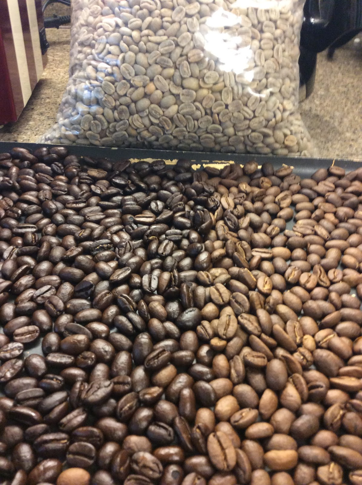 Mary Helen S Test Kitchen Roasting Organic Green Coffee Beans In