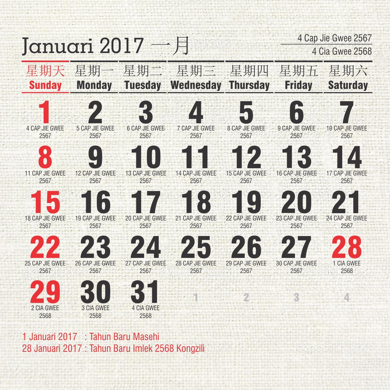 Master Kalender 2017 Indonesia Plus Penanggalan China 2017 ...