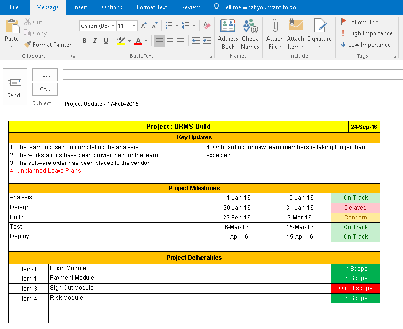 Download download one page project manager excel template for Project manager email templates