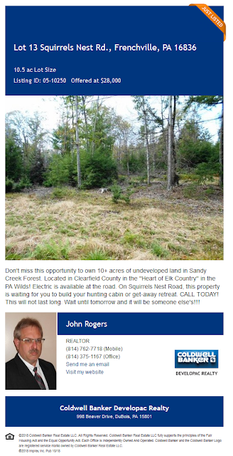 Lot 13 sqirrels nest road frenchville pa wilds elk john rogers coldwell banker developac realty