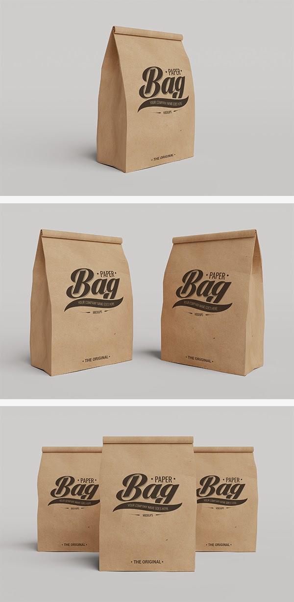 Realistic Paper Bag Mockup PSD