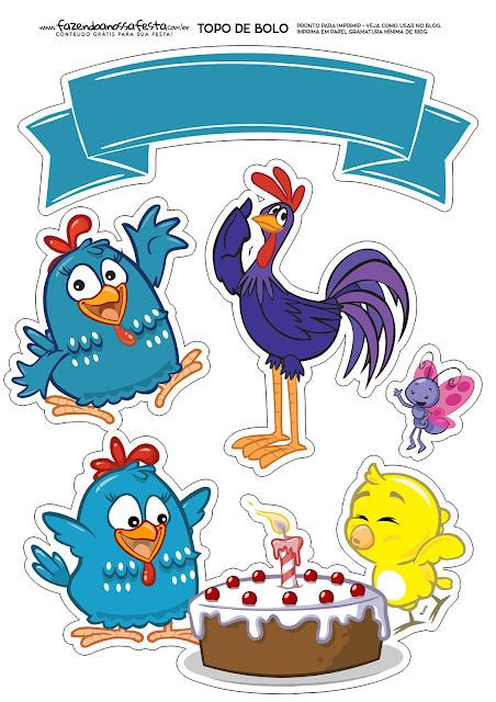 Gallinita Pintadita: Toppers para Tartas, Tortas, Pasteles, Bizcochos o Cakes para Imprimir Gratis.