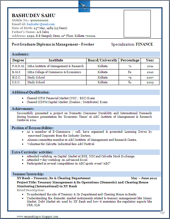 sample resume format for mba freshers