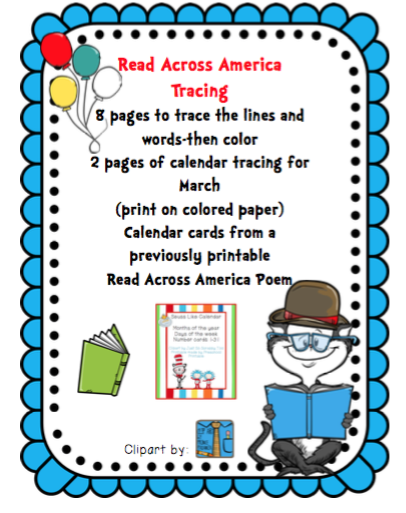 It is a graphic of Slobbery Read Across America Printable