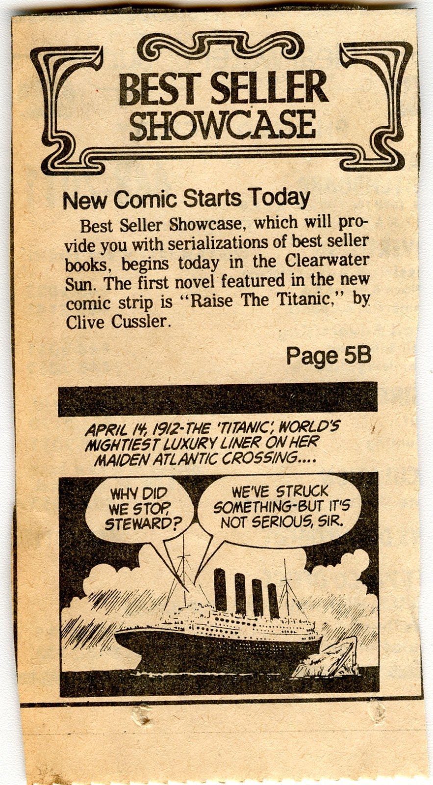 Clive Cussler Book Collecting Raise The Titanic Comic Strips