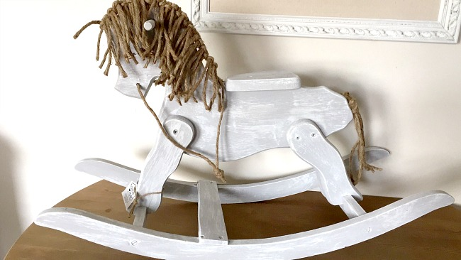 repainted with chalky paint vintage wooden rocking horse with jute mane www.homeroad.net