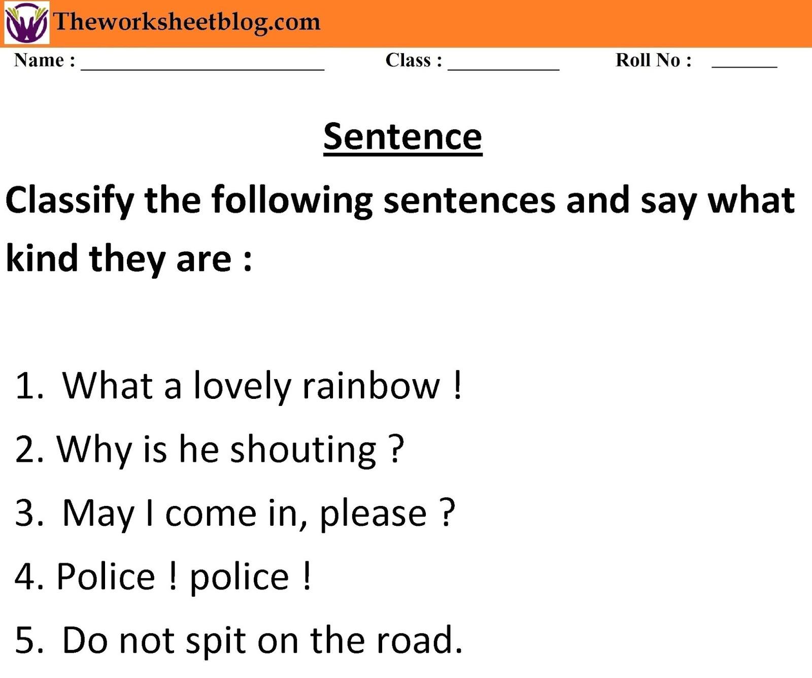 Sentence and kind of sentences worksheet. - Theworksheetsblog [ 1336 x 1600 Pixel ]