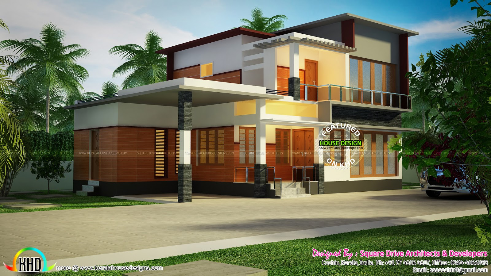 4 bedroom modern home in 1500 sq ft kerala home design for Modern house plans 1500 square feet